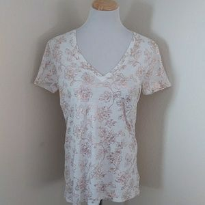 NWT Rose Gold Floral V Neck